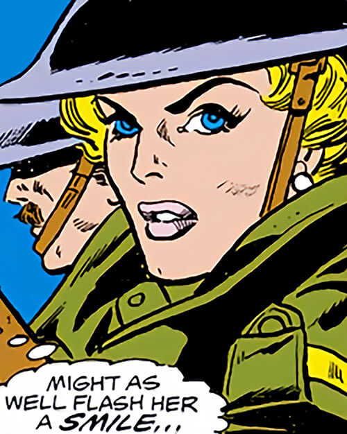 Spitfire of the Invaders (Marvel Comics) (early wartime) as Jacqueline Falsworth - civil defence uniform