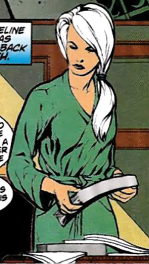 Spitfire of the New Invaders (Marvel Comics) (Jacqueline Falsworth) in a bathrobe