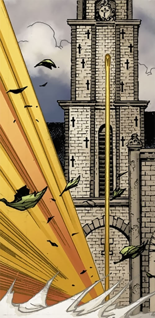 Spitfire of MI13 (Marvel Comics) (Jacqueline Falsworth) running up a church tower