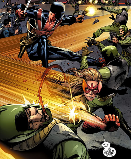 Spitfire of MI13 (Marvel Comics) (Jacqueline Falsworth) and Union Jack fighting soldiers