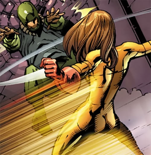 Spitfire of MI13 (Marvel Comics) (Jacqueline Falsworth) does a superspeed backhand