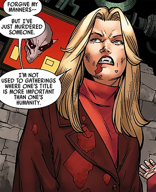 Spitfire of MI13 (Marvel Comics) (Jacqueline Falsworth) after feeding as a vampire