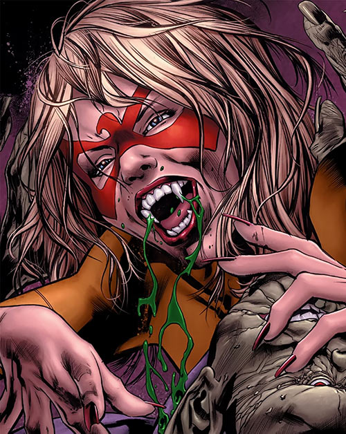 Spitfire of MI13 (Marvel Comics) (Jacqueline Falsworth) killing a Skrull with her vampire bite