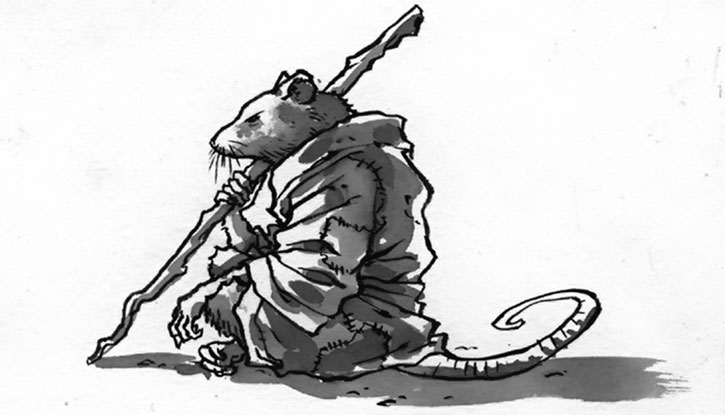 Splinter meditating over a white background
