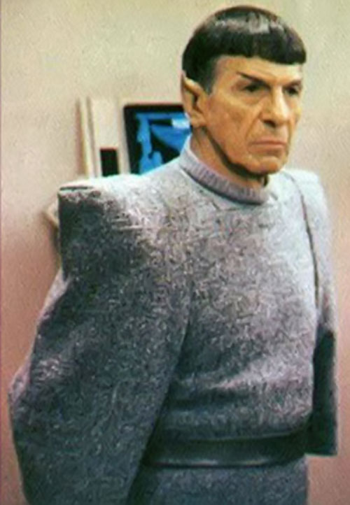 Spock (Leonard Nimoy in Star Trek) in a grey woollen suit