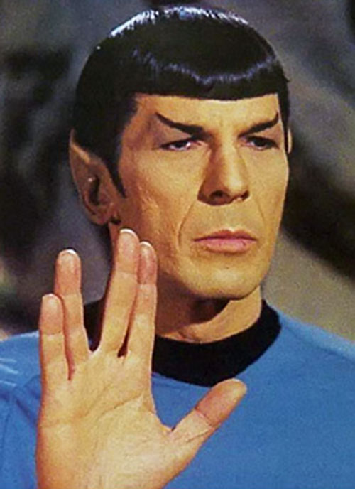 Spock (Leonard Nimoy in Star Trek) doing the Vulcan salute