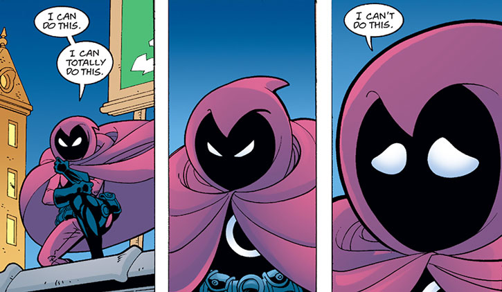 Spoiler (Stephanie Brown) with the cowl on psyching herself up