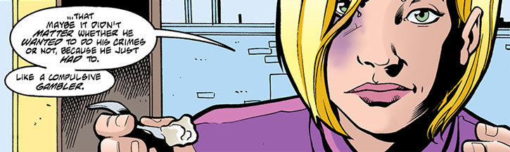 A battered Spoiler (Stephanie Brown) eating