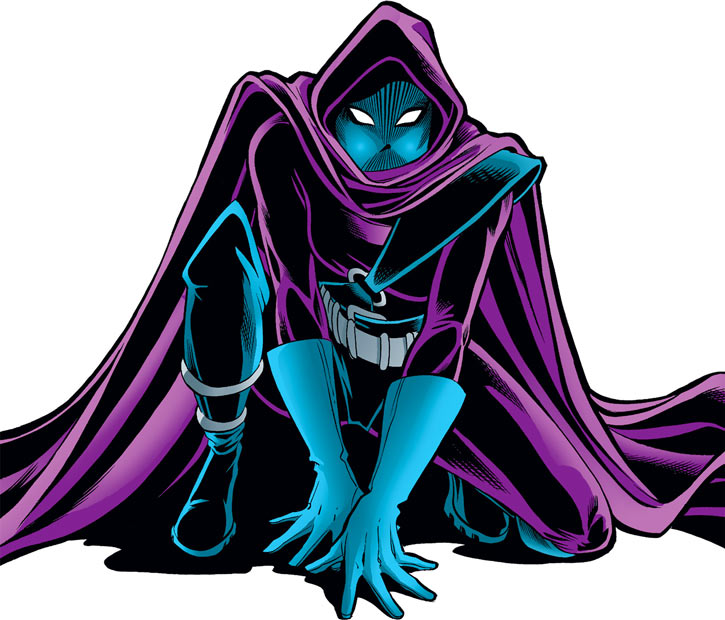 Spoiler (Stephanie Brown) crouching over a white background