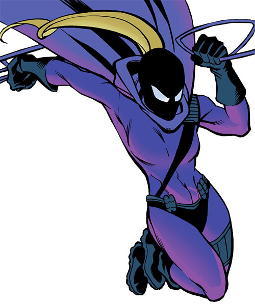 Spoiler (Stephanie Brown) (1990s DC Comics) (Batman / Robin character) leaping with hair queue