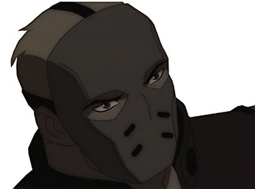 Sportsmaster (Young Justice animated series) mask closeup high angle