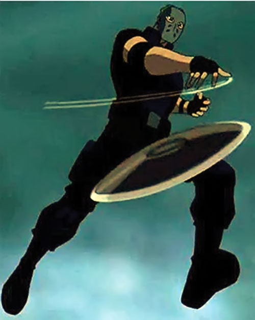 Sportsmaster (Young Justice animated series) leaping and hurling a disc