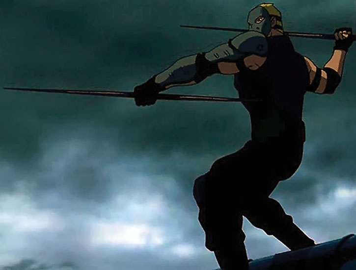 Sportsmaster (Young Justice animated version) with javelins