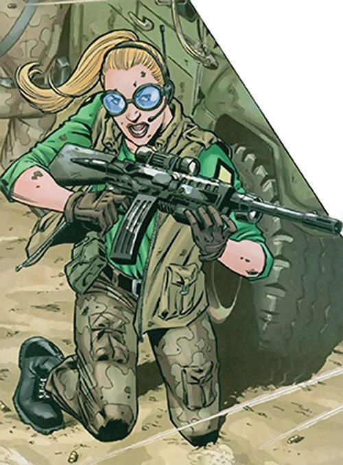 Spy-Smasher (Birds of Prey enemy) (DC Comics) on a battlefield