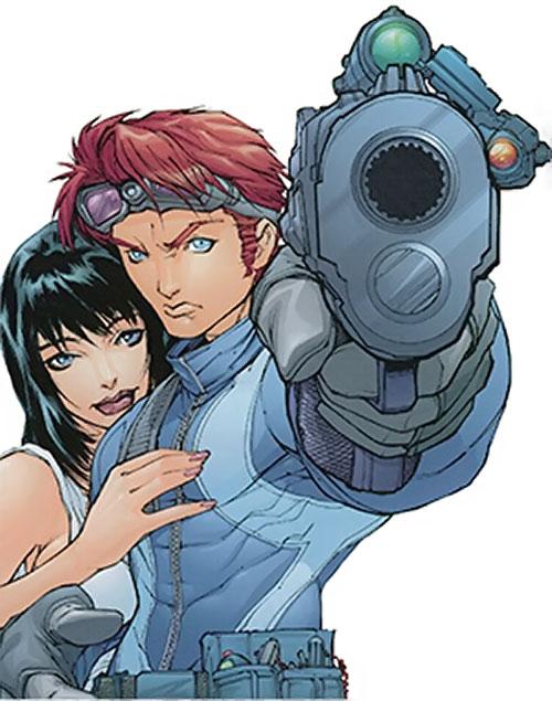 Spyboy (Peter David comics) pointing a pistol
