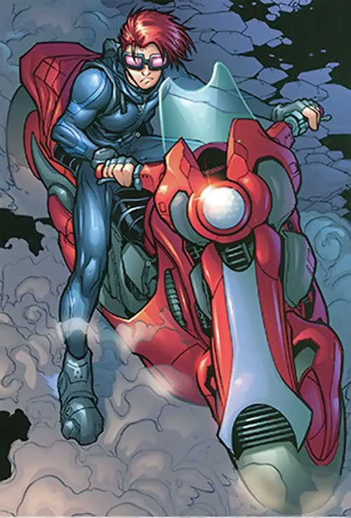 Spyboy (Peter David comics) on a red motorcycle
