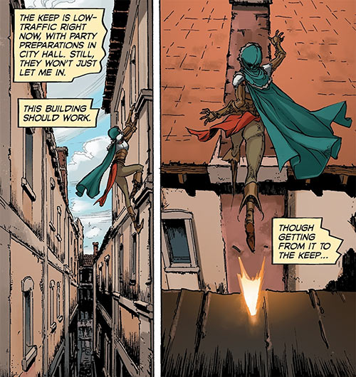 Squire Vaea - Dragon Age Knight Errant comics - Urban acrobatics