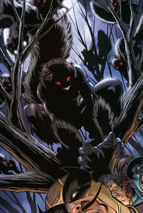 Squirrel Girl (Marvel Comics) looking sinister in tree at night