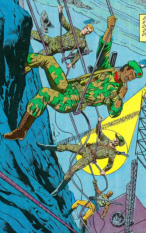 Stalker (G.I. Joe) (Marvel Comics) rappelling with a team