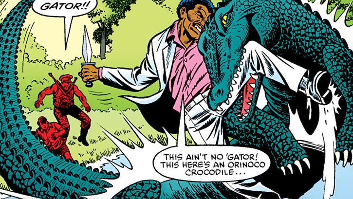 Stalker (G.I. Joe) (Marvel Comics) fighting a gator