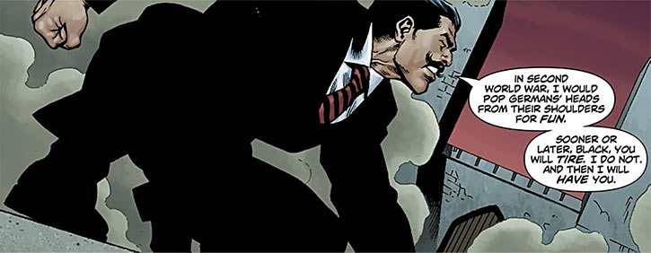 Stalnoivolk in a black suit, crouching to jump (DC Comics)