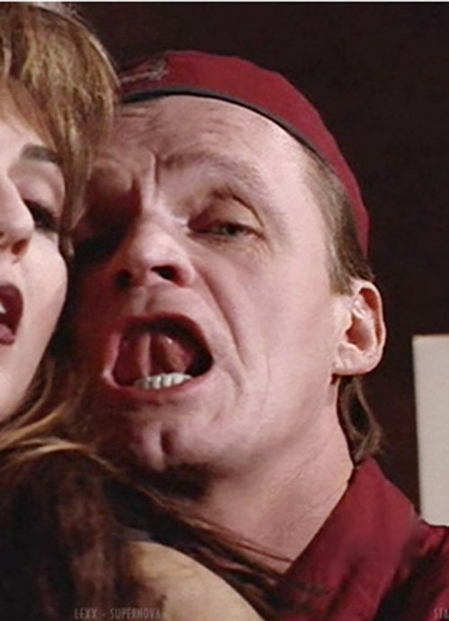 Stanley Tweedle (Brian Downey in LEXX) wagging his tongue