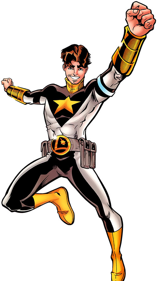 Star Boy flying over a white background (LSH / DC Comics)