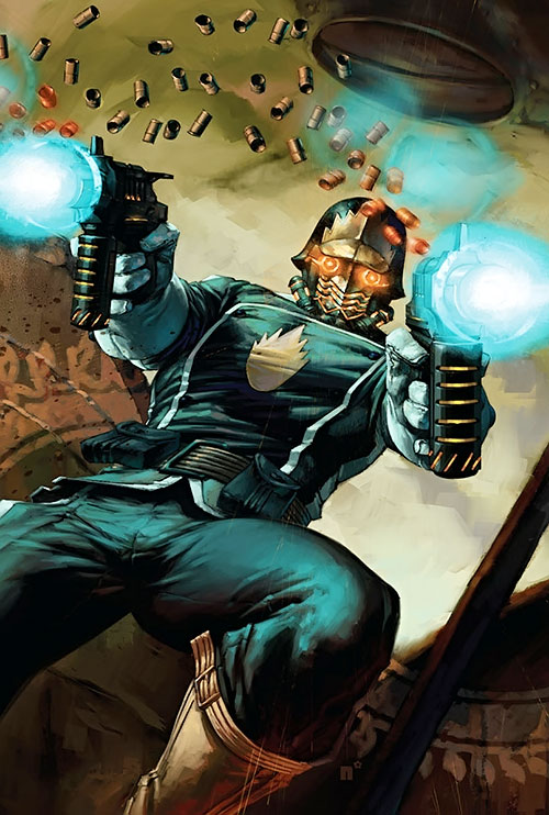 Peter Quill of the Guardians of the Galaxy (Marvel Comics) dual-wielding machine pistols
