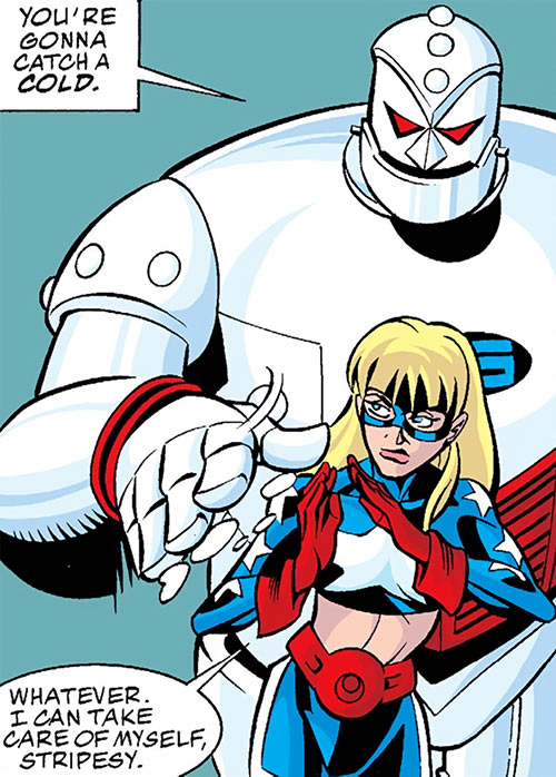 Star-Spangled Kid (Courtney Whitmore) (early, pre-Stargirl) (DC Comics) brushing STRIPE off