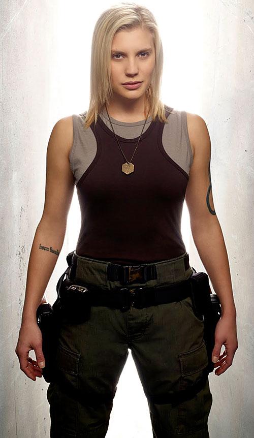 Kara Starbuck Thrace (Katee Sackhoff in Battlestar Galactica) in her pilot uniform