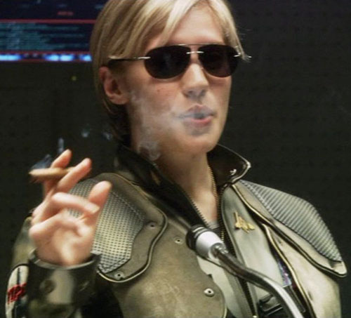 Kara Starbuck Thrace (Katee Sackhoff in Battlestar Galactica) smoking a cigar