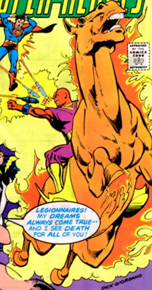 The Starburst Bandits (Legion of Super-Heroes enemies) (DC Comics) on their fire horses