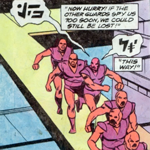 The Starburst Bandits (Legion of Super-Heroes enemies) (DC Comics) up on the catwalk