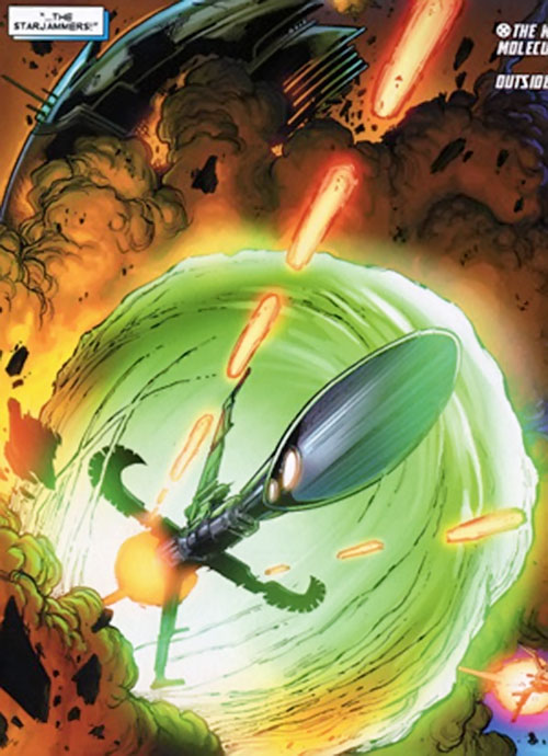 Starjammer spaceship (Marvel X-Men comics) in battle