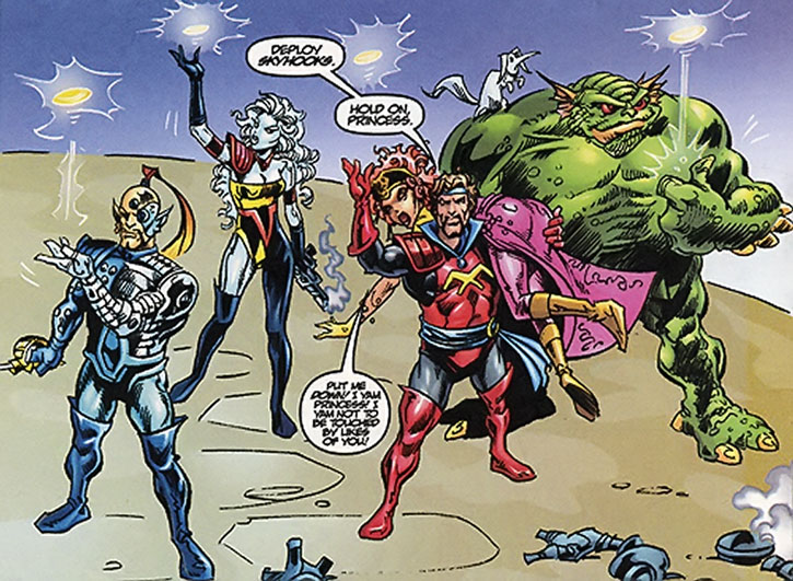 The Starjammers ready to evacuate using skyhooks