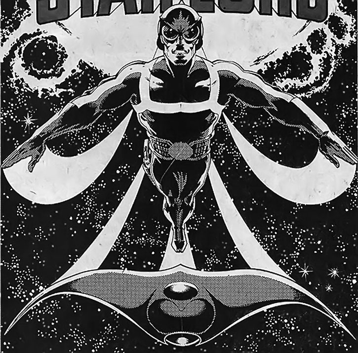 Starlord (Peter Quill) and Ship flying in space, in black and white