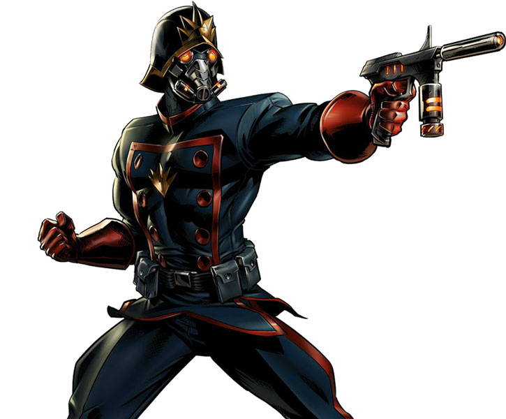 Starlord (Peter Quill) with the uniform and cool helmet and mask