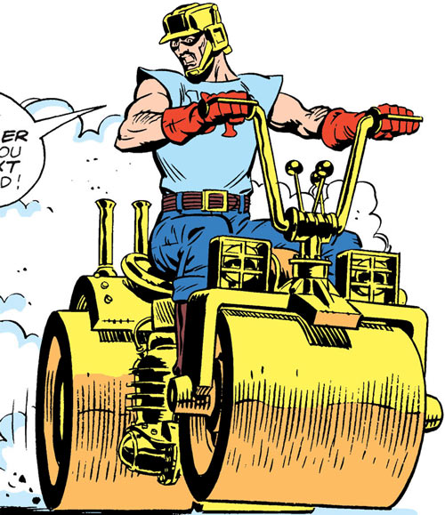 Steamroller of the Demolition Team (DC Comics) driving around