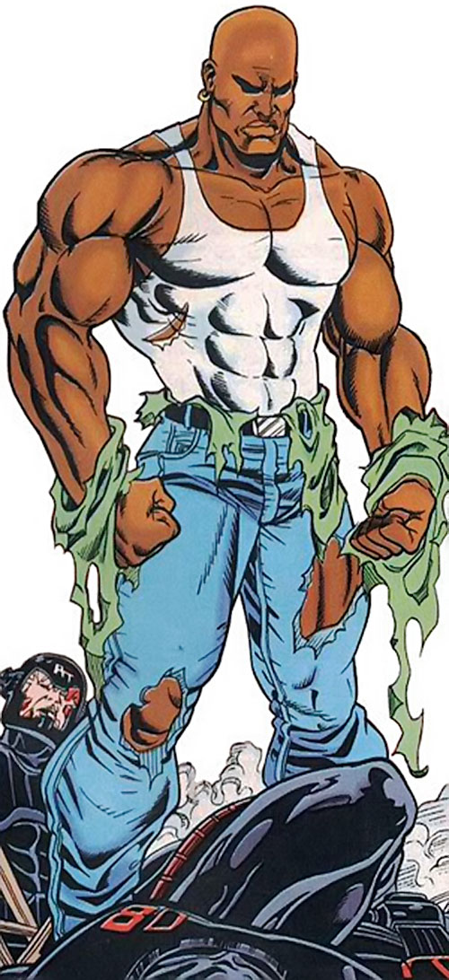 Steel (John Henry Irons) (DC Comics Superman) in a shredded tank top