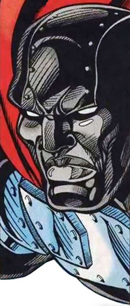 Steel (John Henry Irons) (DC Comics Superman) black armor face closeup