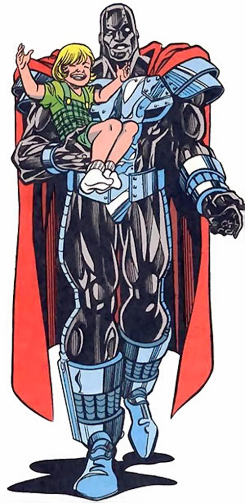 Steel (John Henry Irons) (DC Comics Superman) in the black armor, carrying a little girl