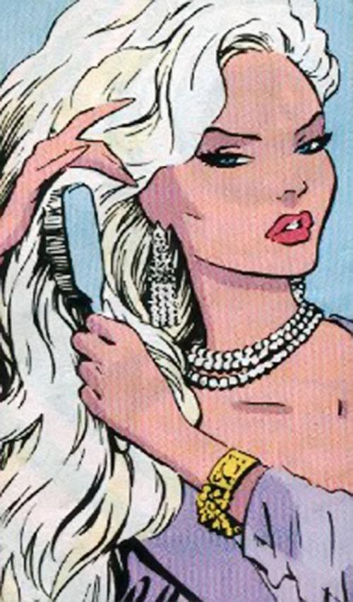 Steel Raven (Marvel Comics) brushing her hair