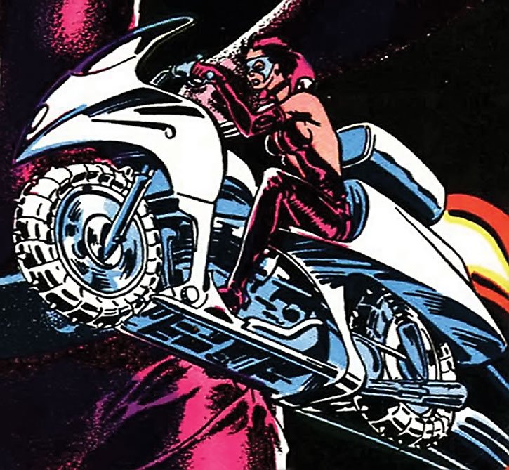 Steel Wind on her bike, cover art