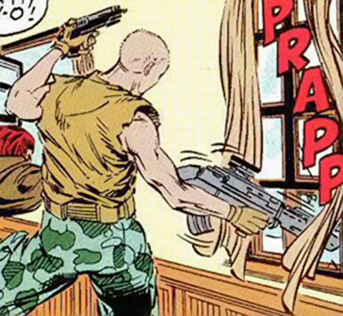 Stencil from Russia (Marvel Comics) firing guns from a window