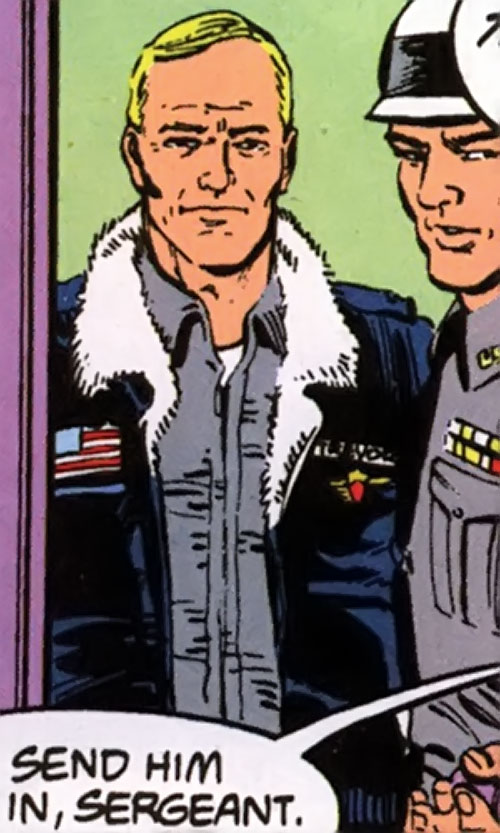 Steve Trevor (Wonder Woman ally) (Post-Crisis DC Comics) in a gray shirt and bomber jacket