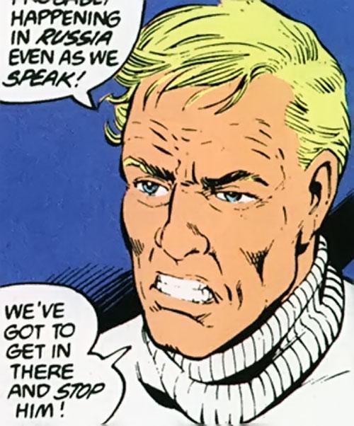 Steve Trevor (Wonder Woman ally) (Post-Crisis DC Comics) face closeup in white jumper