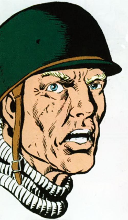 Steve Trevor (Wonder Woman ally) (Post-Crisis DC Comics) face closeup with old US helmet