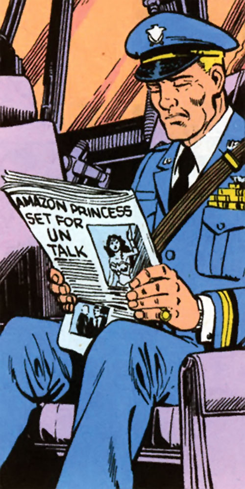 Steve Trevor (Wonder Woman ally) (Post-Crisis DC Comics) reading the news in his blues
