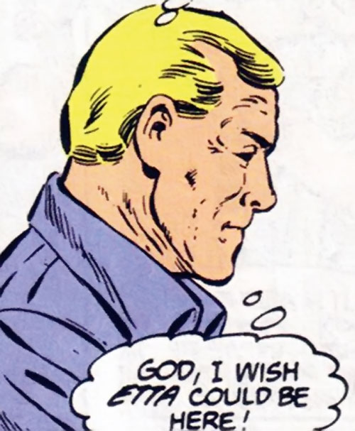 Steve Trevor (Wonder Woman ally) (Post-Crisis DC Comics) side view purple shirt