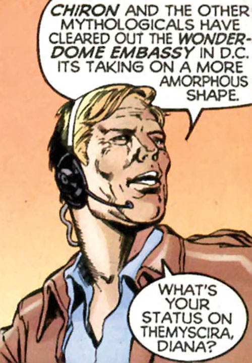 Steve Trevor (Wonder Woman ally) (Post-Crisis DC Comics) with a radio headset